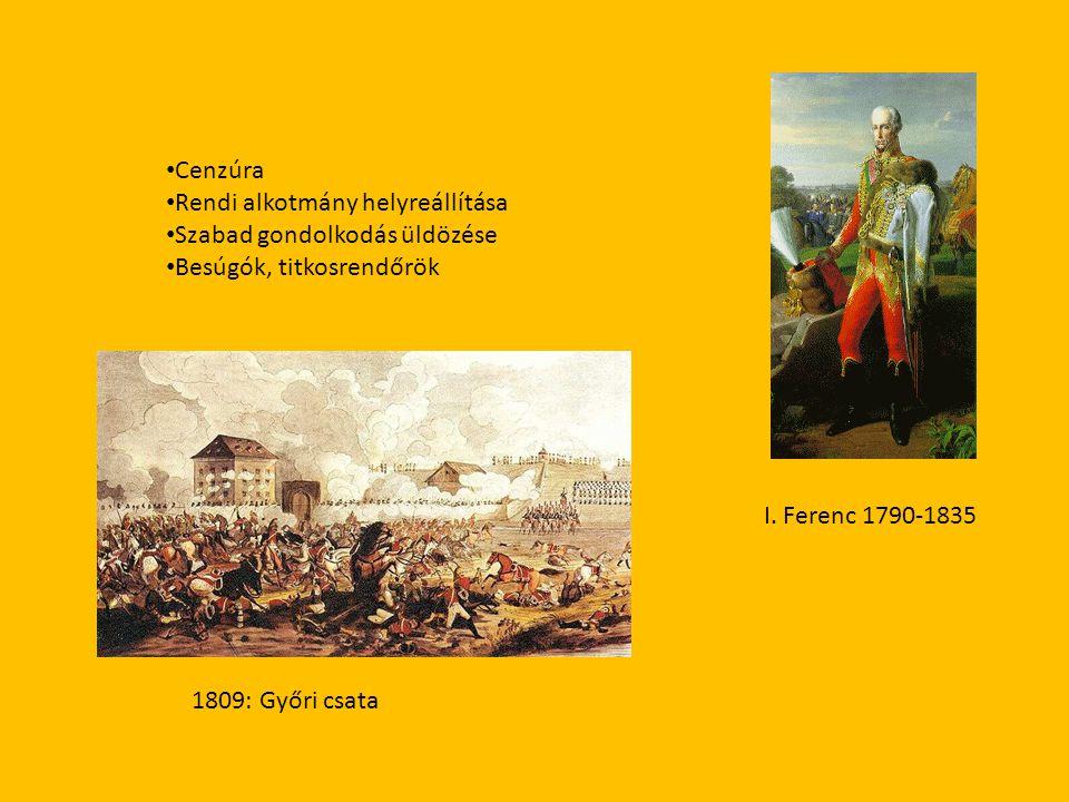 Cenzúra Rendi alkotmány helyreállítása. Szabad gondolkodás üldözése. Besúgók, titkosrendőrök. I. Ferenc 1790-1835.