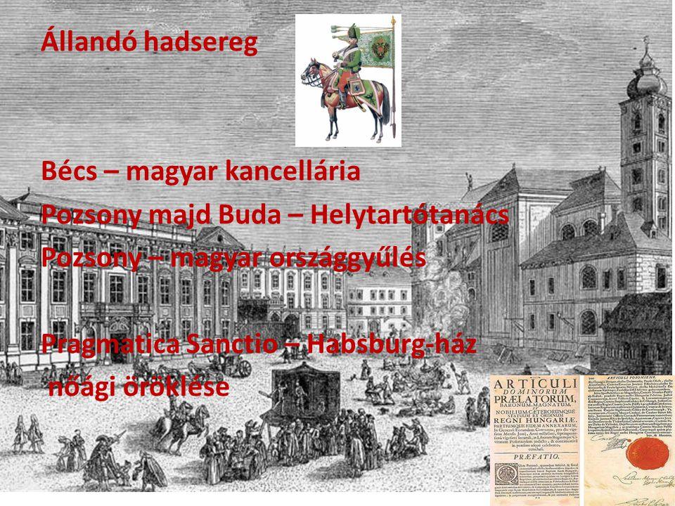 Állandó hadsereg Bécs – magyar kancellária Pozsony majd Buda – Helytartótanács Pozsony – magyar országgyűlés Pragmatica Sanctio – Habsburg-ház nőági öröklése