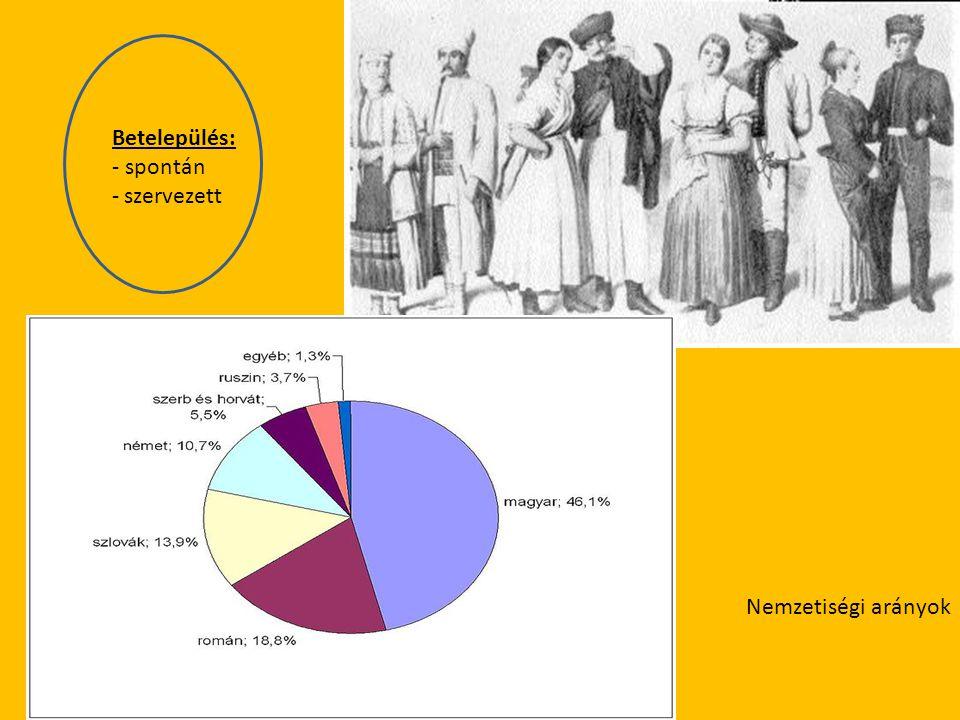 Betelepülés: - spontán szervezett Nemzetiségi arányok