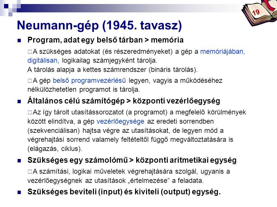 Neumann-gép (1945. tavasz) Program, adat egy belső tárban > memória