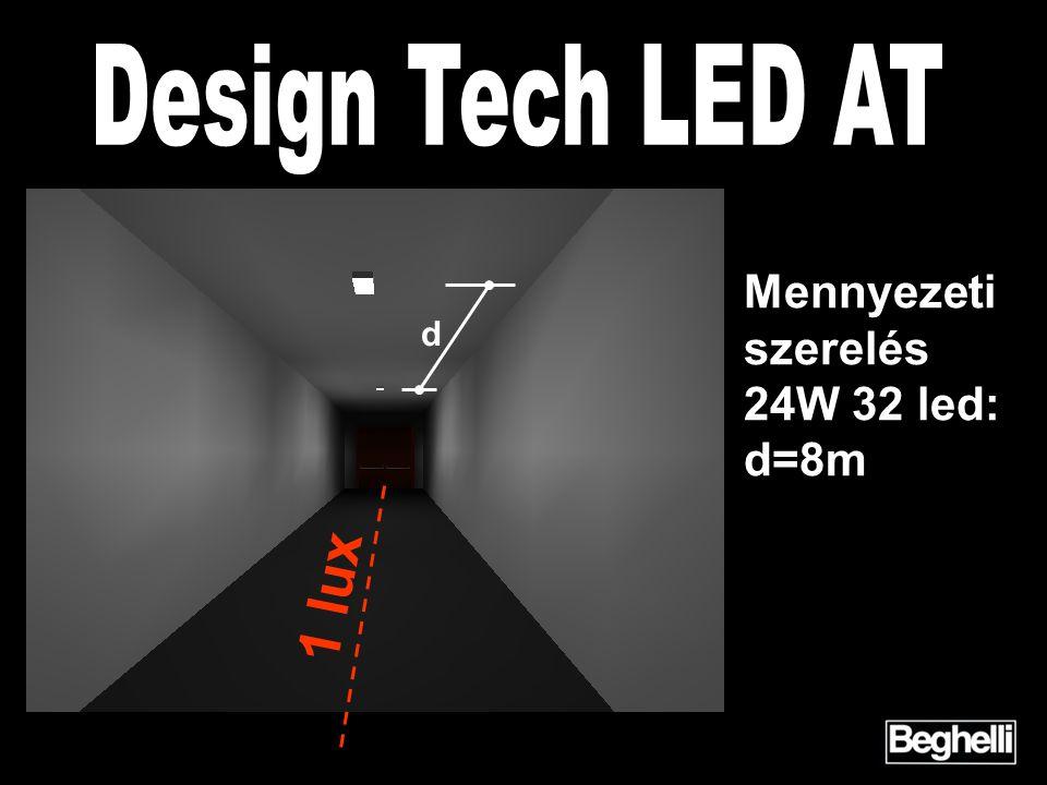 Design Tech LED AT Mennyezeti szerelés 24W 32 led: d=8m d 1 lux