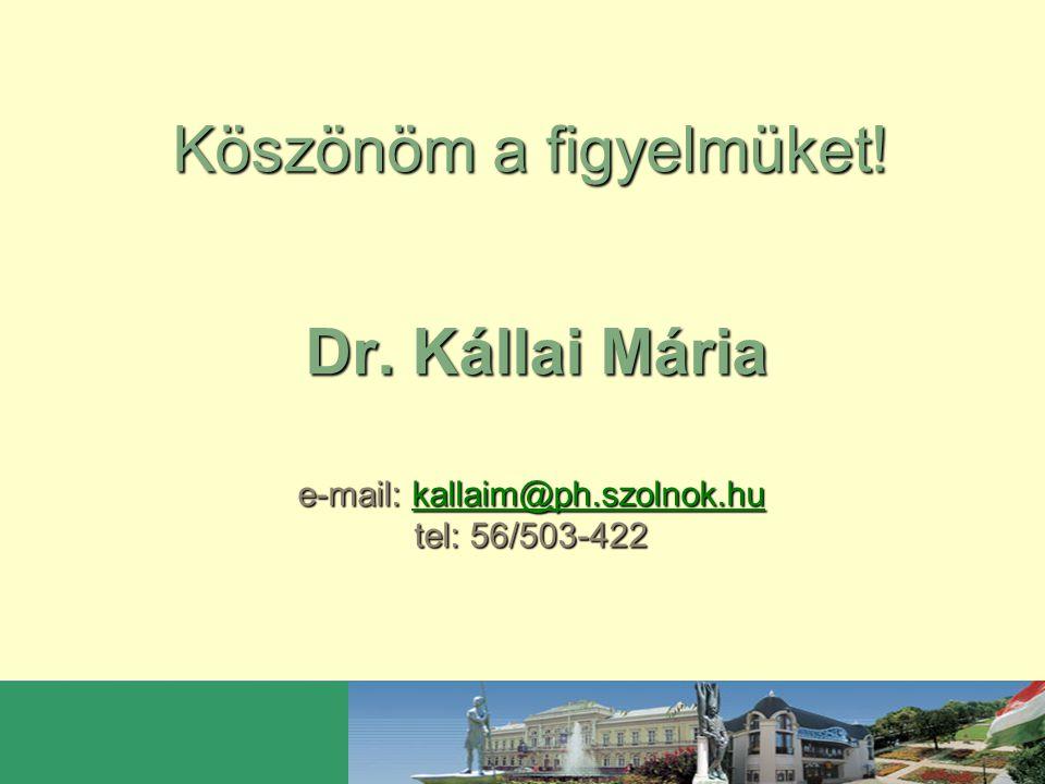 Köszönöm a figyelmüket. Dr. Kállai Mária e-mail: kallaim@ph. szolnok