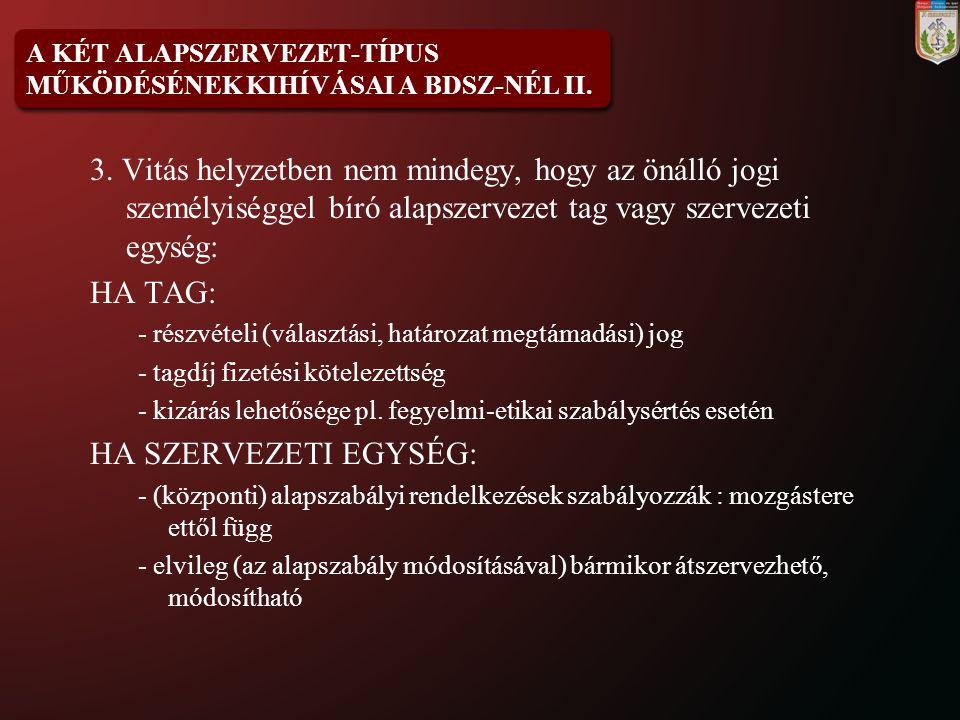 A KÉT ALAPSZERVEZET-TÍPUS MŰKÖDÉSÉNEK KIHÍVÁSAI A BDSZ-NÉL II.