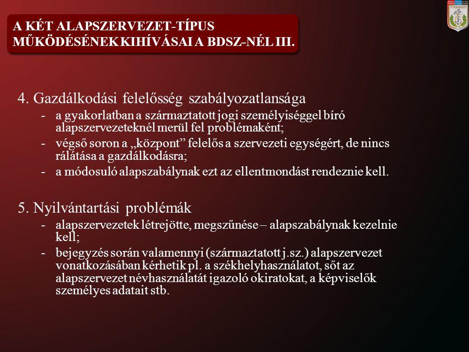 A KÉT ALAPSZERVEZET-TÍPUS MŰKÖDÉSÉNEK KIHÍVÁSAI A BDSZ-NÉL III.