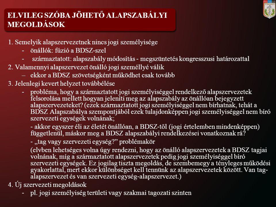ELVILEG SZÓBA JÖHETŐ ALAPSZABÁLYI MEGOLDÁSOK