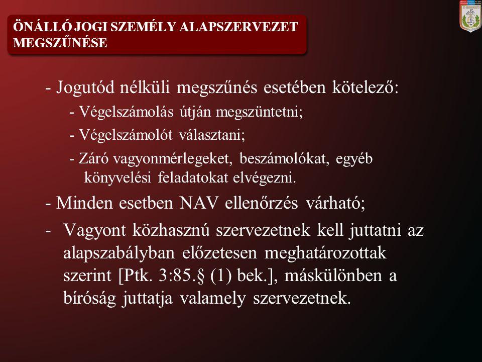ÖNÁLLÓ JOGI SZEMÉLY ALAPSZERVEZET MEGSZŰNÉSE