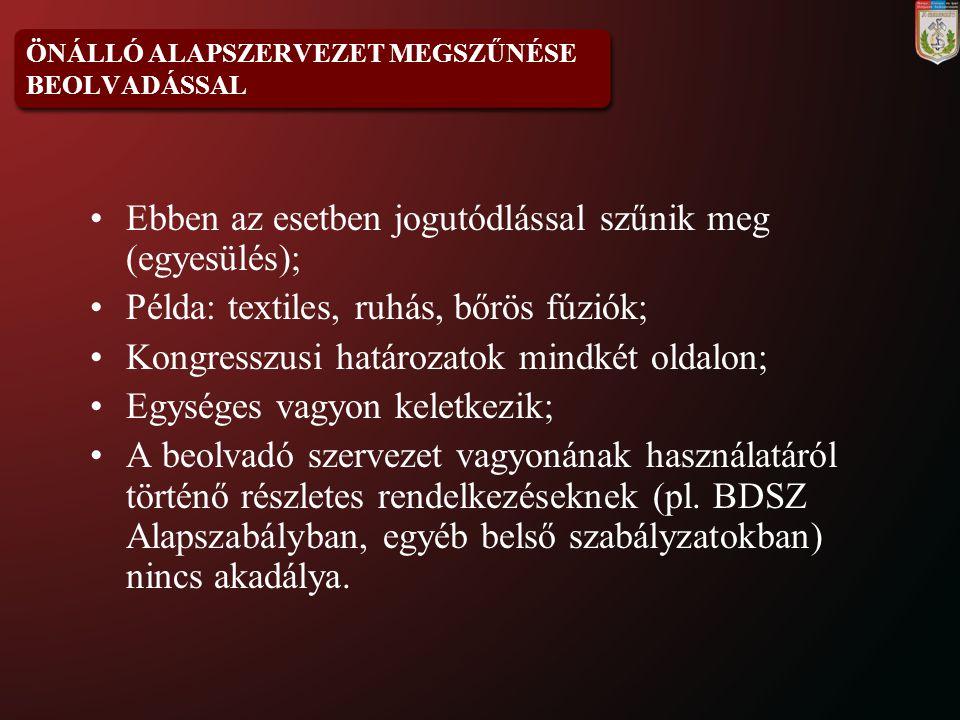 ÖNÁLLÓ ALAPSZERVEZET MEGSZŰNÉSE BEOLVADÁSSAL