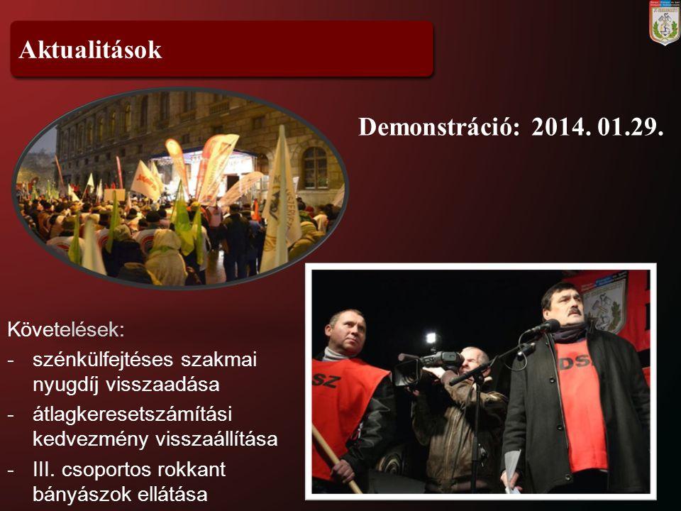 Aktualitások Demonstráció: 2014. 01.29. Követelések: