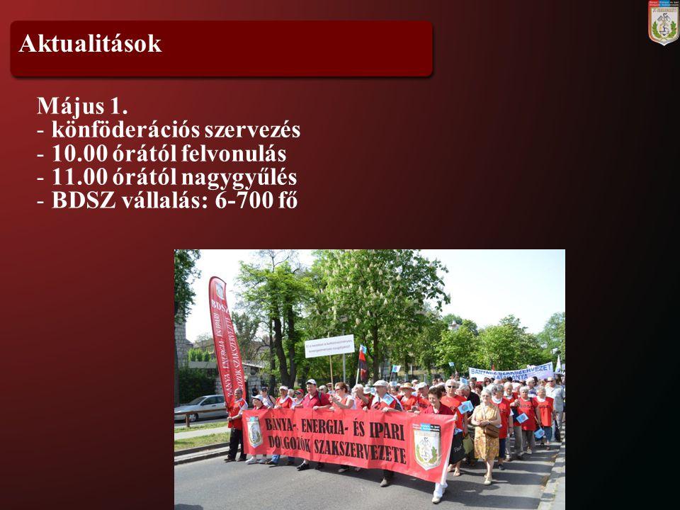 Aktualitások Május 1. könföderációs szervezés 10.00 órától felvonulás