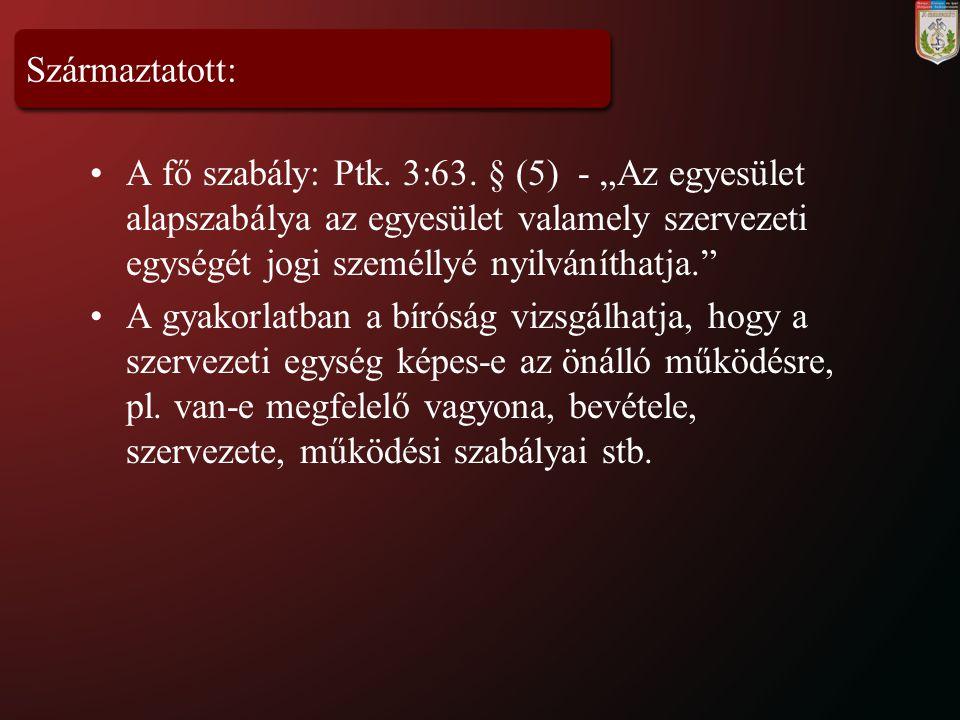 """Származtatott: A fő szabály: Ptk. 3:63. § (5) - """"Az egyesület alapszabálya az egyesület valamely szervezeti egységét jogi személlyé nyilváníthatja."""