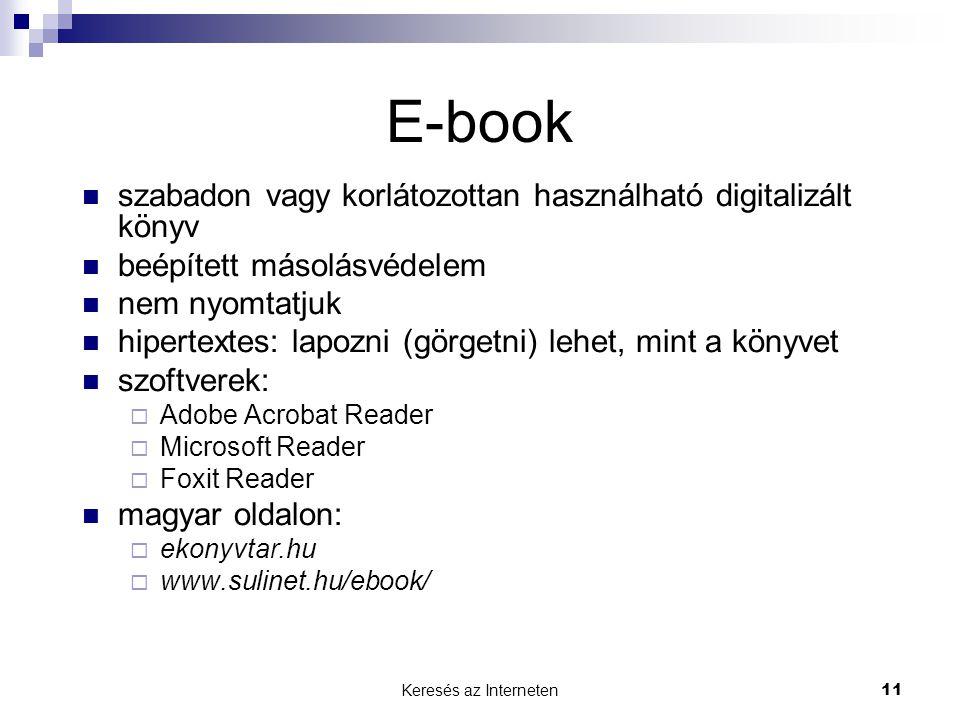 E-book szabadon vagy korlátozottan használható digitalizált könyv