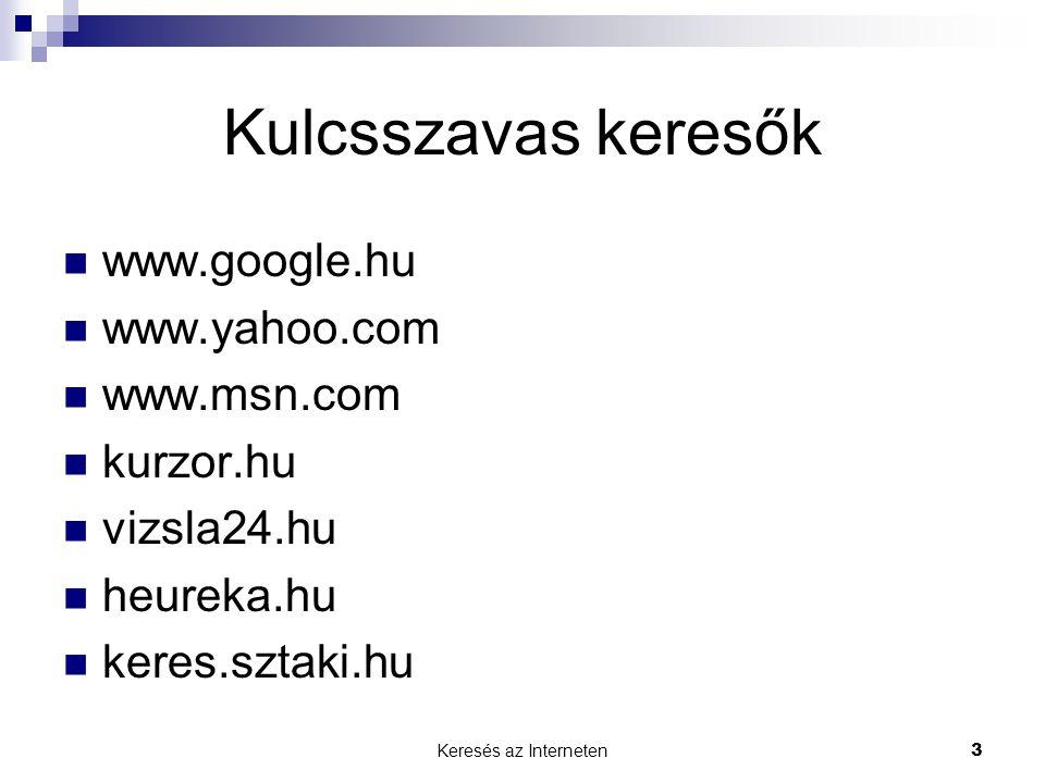 Kulcsszavas keresők www.google.hu www.yahoo.com www.msn.com kurzor.hu