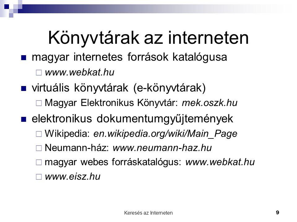Könyvtárak az interneten