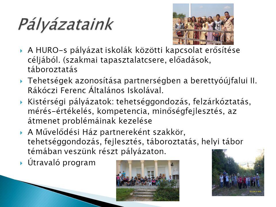 Pályázataink A HURO-s pályázat iskolák közötti kapcsolat erősítése céljából. (szakmai tapasztalatcsere, előadások, táboroztatás.
