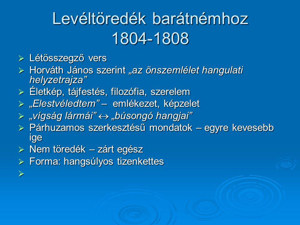 Levéltöredék barátnémhoz 1804-1808