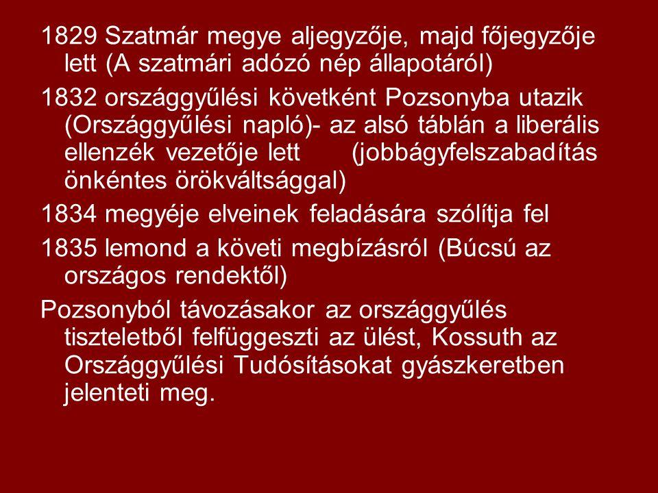 1829 Szatmár megye aljegyzője, majd főjegyzője lett (A szatmári adózó nép állapotáról)