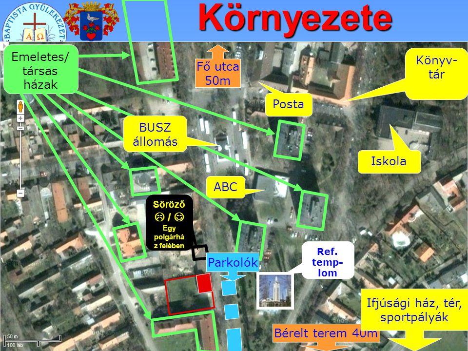 Környezete Emeletes/ társas házak Fő utca 50m Könyv-tár Posta