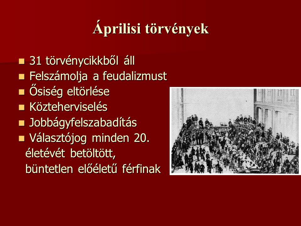 Áprilisi törvények 31 törvénycikkből áll Felszámolja a feudalizmust