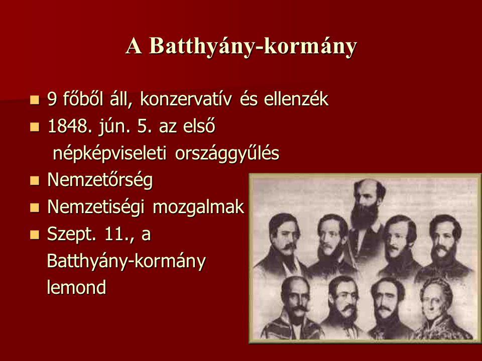 A Batthyány-kormány 9 főből áll, konzervatív és ellenzék