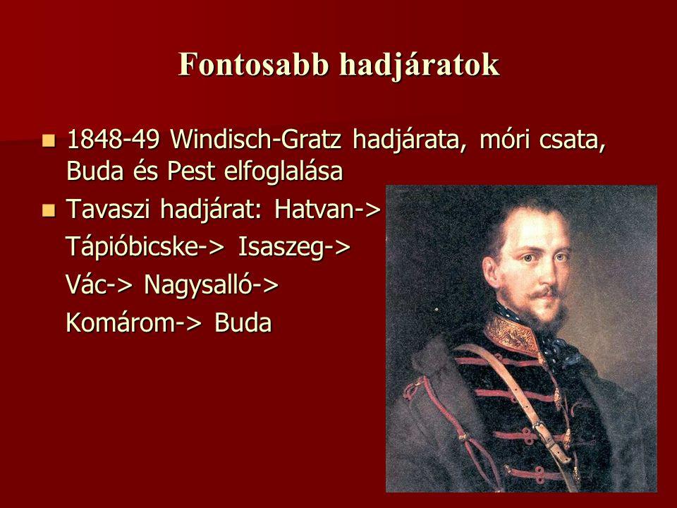 Fontosabb hadjáratok 1848-49 Windisch-Gratz hadjárata, móri csata, Buda és Pest elfoglalása. Tavaszi hadjárat: Hatvan->