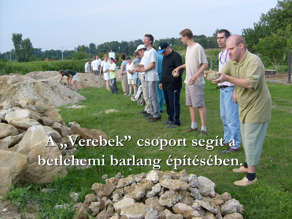 """A """"Verebek csoport segít a betlehemi barlang építésében."""