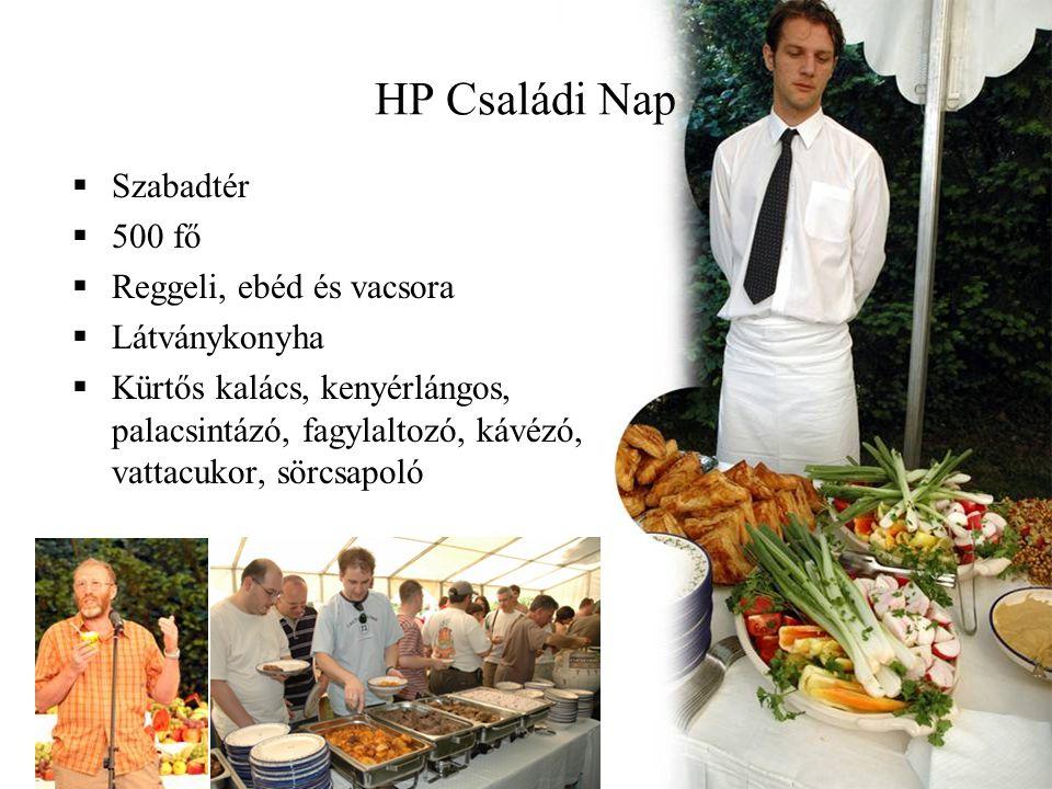 HP Családi Nap Szabadtér 500 fő Reggeli, ebéd és vacsora Látványkonyha