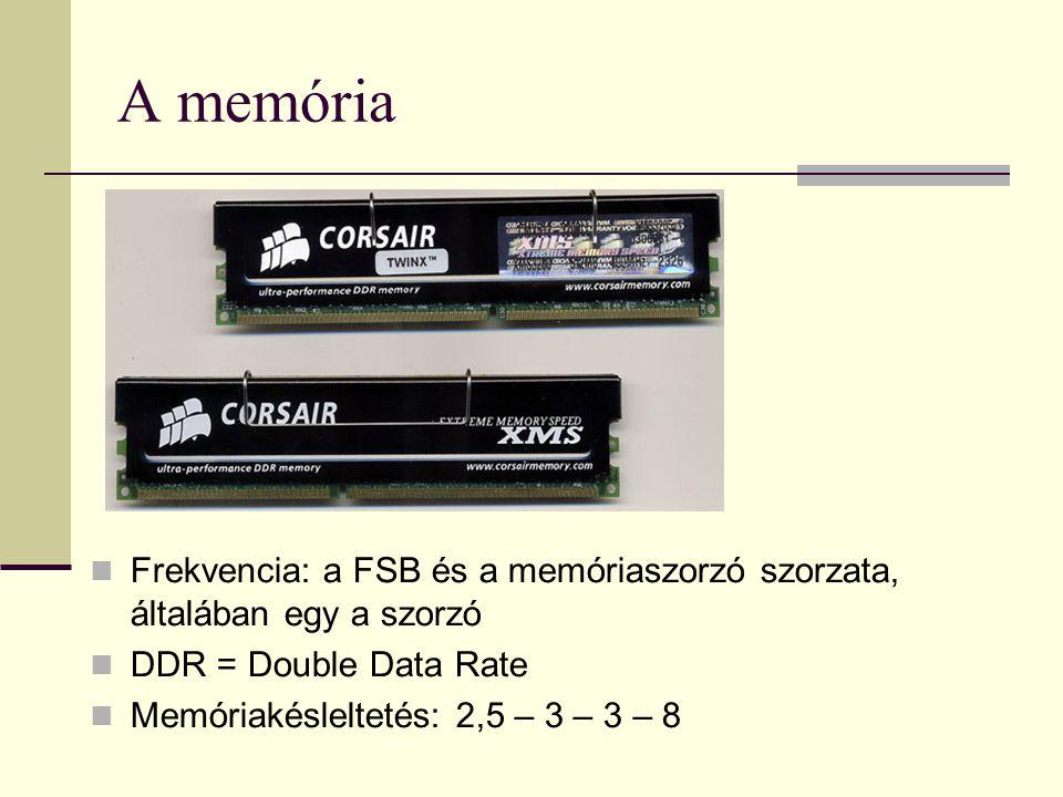 A memória Frekvencia: a FSB és a memóriaszorzó szorzata, általában egy a szorzó. DDR = Double Data Rate.