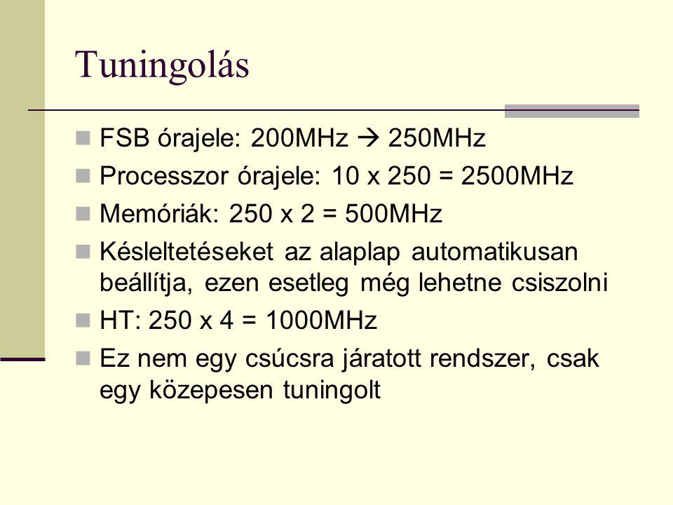 Tuningolás FSB órajele: 200MHz  250MHz