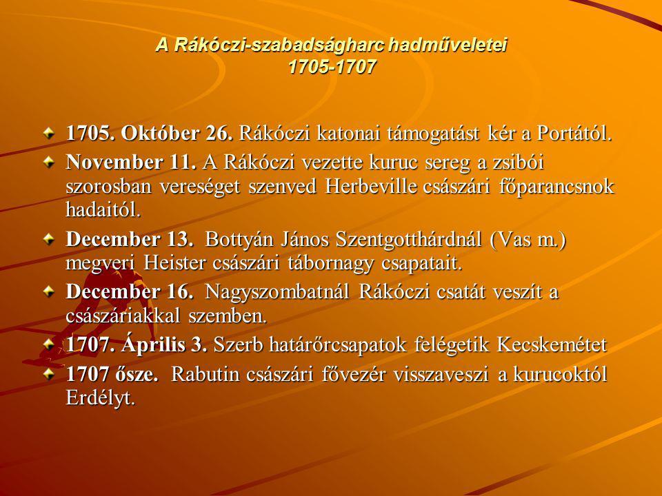 A Rákóczi-szabadságharc hadműveletei 1705-1707