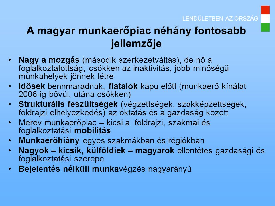 A magyar munkaerőpiac néhány fontosabb jellemzője