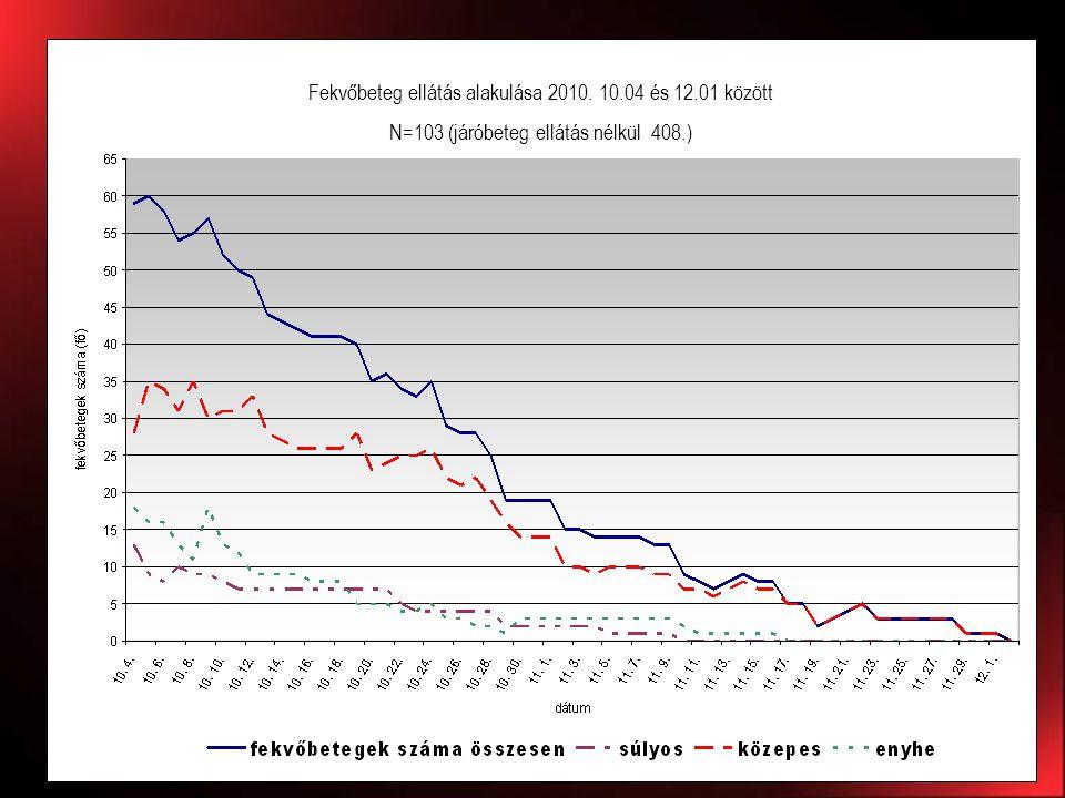 Fekvőbeteg ellátás alakulása 2010. 10.04 és 12.01 között