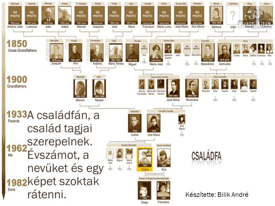 A családfán, a család tagjai szerepelnek