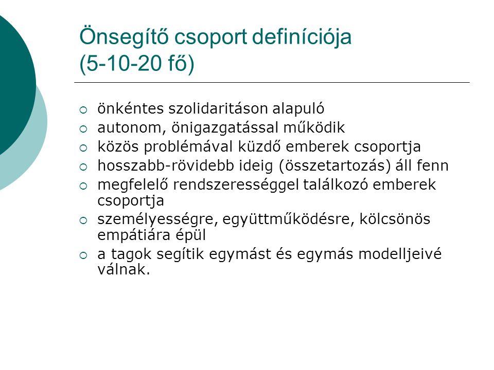 Önsegítő csoport definíciója (5-10-20 fő)