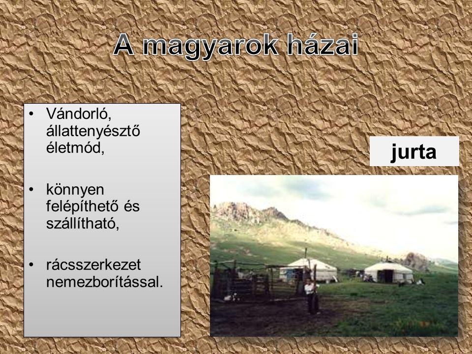 A magyarok házai jurta Vándorló, állattenyésztő életmód,