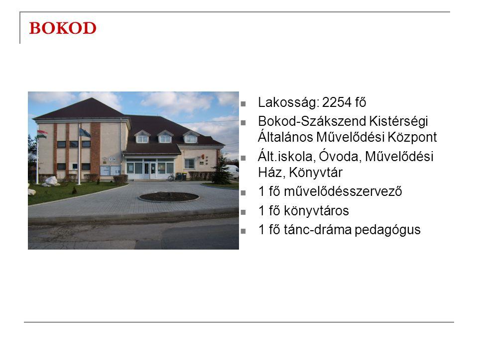 BOKOD Lakosság: 2254 fő. Bokod-Szákszend Kistérségi Általános Művelődési Központ. Ált.iskola, Óvoda, Művelődési Ház, Könyvtár.