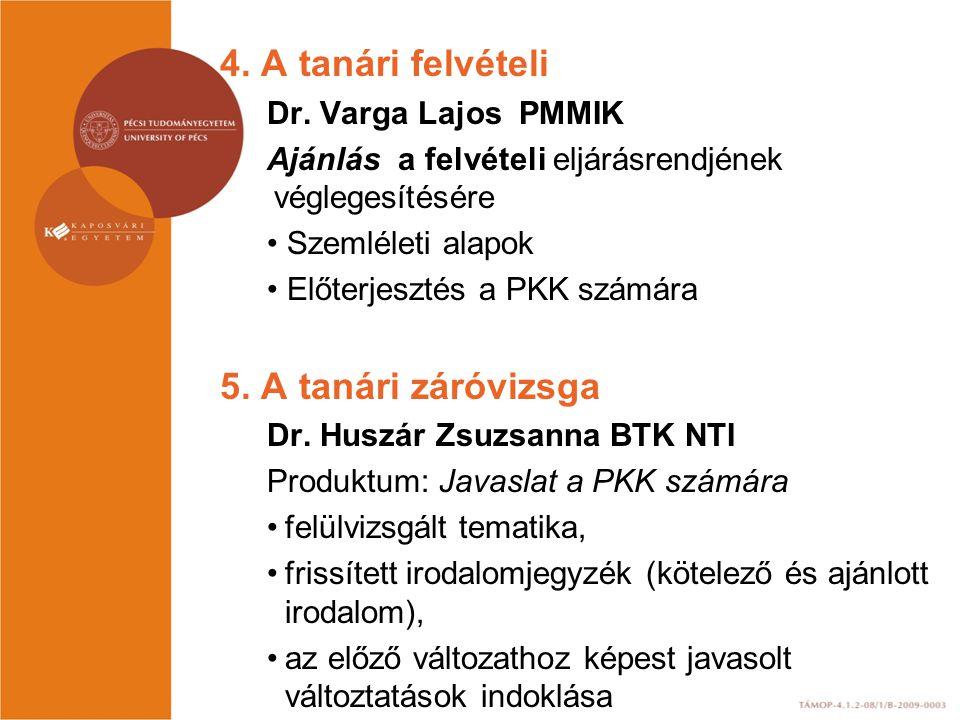4. A tanári felvételi 5. A tanári záróvizsga Dr. Varga Lajos PMMIK