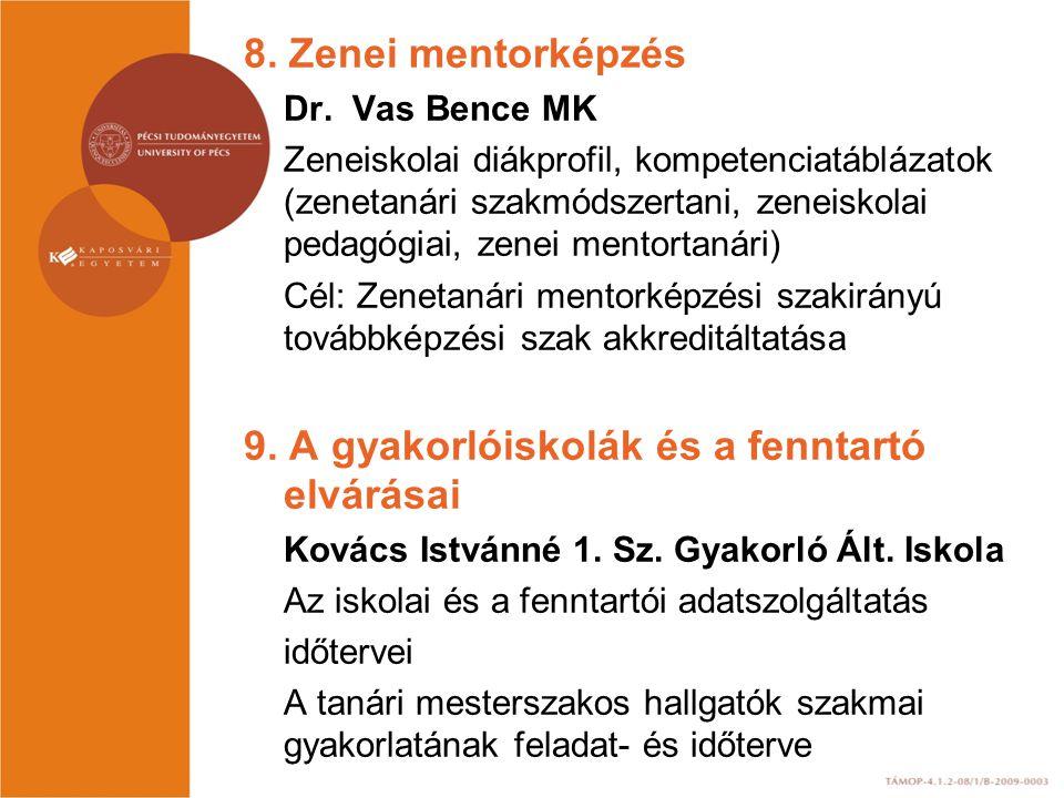 9. A gyakorlóiskolák és a fenntartó elvárásai