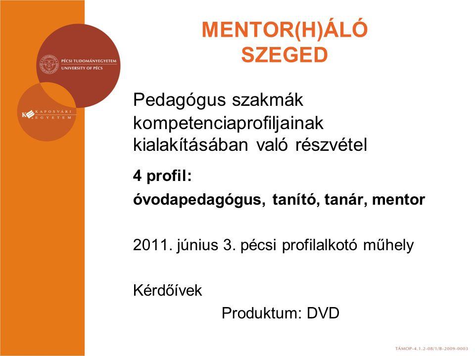 MENTOR(H)ÁLÓ SZEGED Pedagógus szakmák kompetenciaprofiljainak kialakításában való részvétel. 4 profil:
