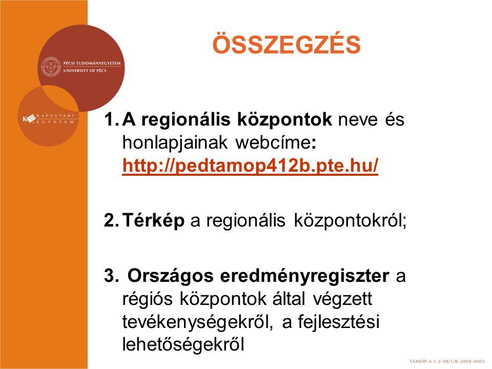 ÖSSZEGZÉS A regionális központok neve és honlapjainak webcíme: http://pedtamop412b.pte.hu/ Térkép a regionális központokról;