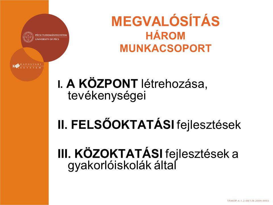 MEGVALÓSÍTÁS HÁROM MUNKACSOPORT