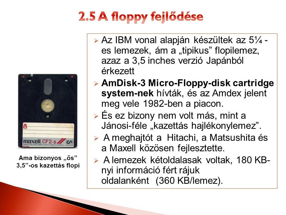 """2.5 A floppy fejlődése Az IBM vonal alapján készültek az 5¼ - es lemezek, ám a """"tipikus flopilemez, azaz a 3,5 inches verzió Japánból érkezett."""