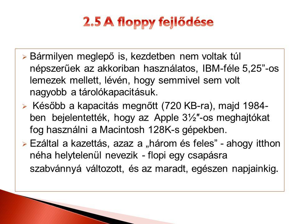 2.5 A floppy fejlődése