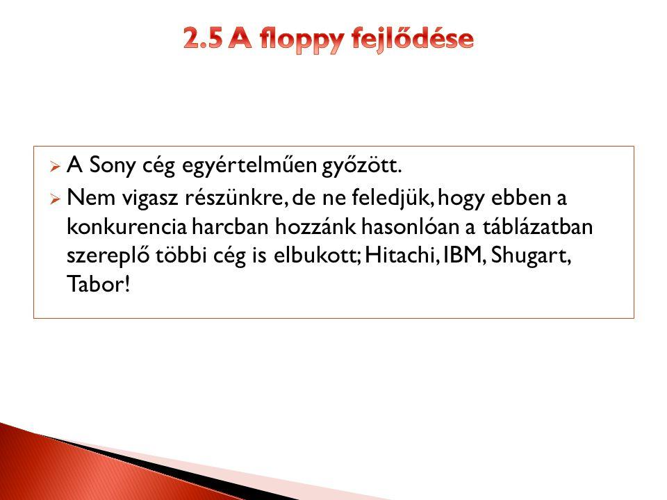 2.5 A floppy fejlődése A Sony cég egyértelműen győzött.