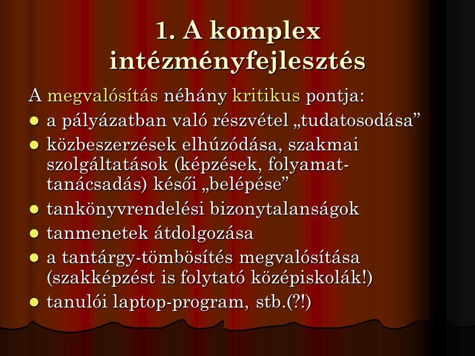 1. A komplex intézményfejlesztés