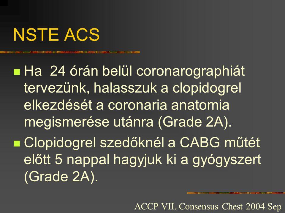 NSTE ACS Ha 24 órán belül coronarographiát tervezünk, halasszuk a clopidogrel elkezdését a coronaria anatomia megismerése utánra (Grade 2A).