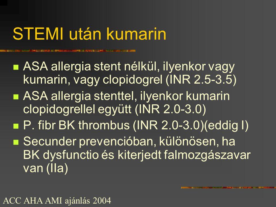STEMI után kumarin ASA allergia stent nélkül, ilyenkor vagy kumarin, vagy clopidogrel (INR 2.5-3.5)