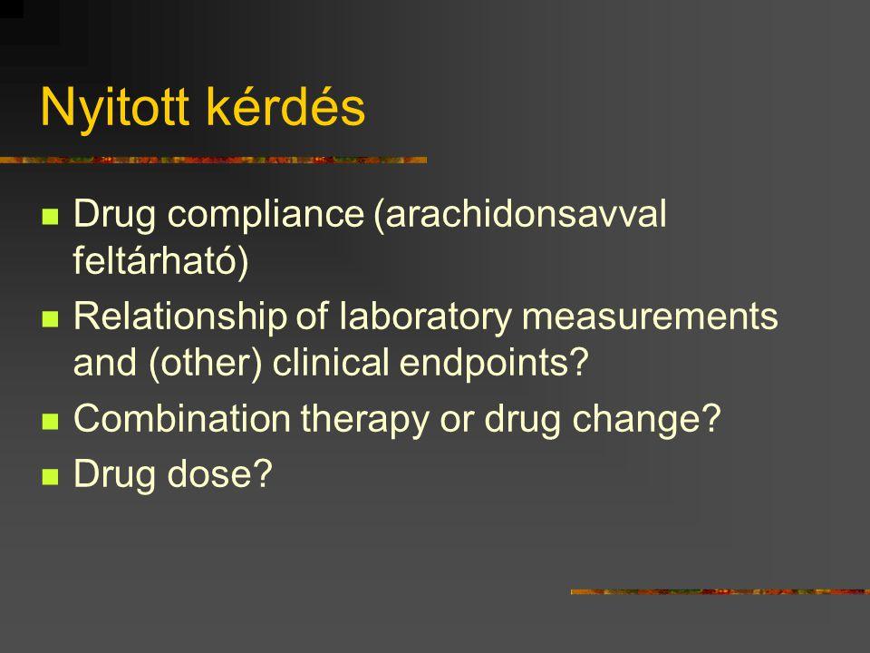 Nyitott kérdés Drug compliance (arachidonsavval feltárható)