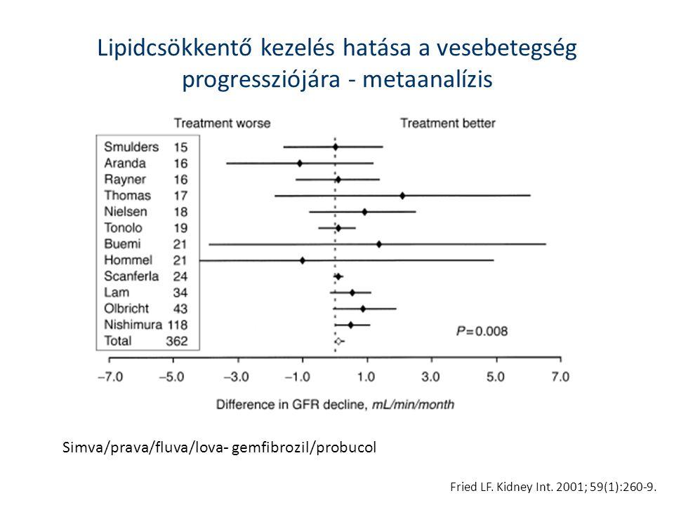 Lipidcsökkentő kezelés hatása a vesebetegség progressziójára - metaanalízis