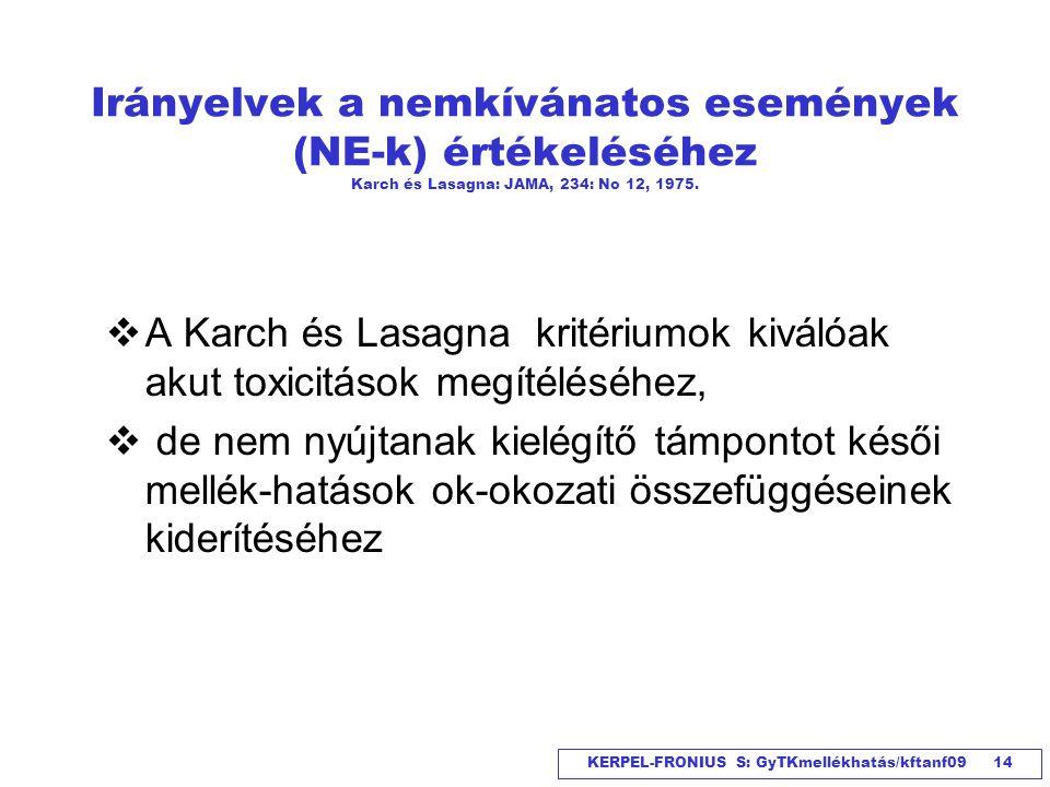Irányelvek a nemkívánatos események (NE-k) értékeléséhez Karch és Lasagna: JAMA, 234: No 12, 1975.