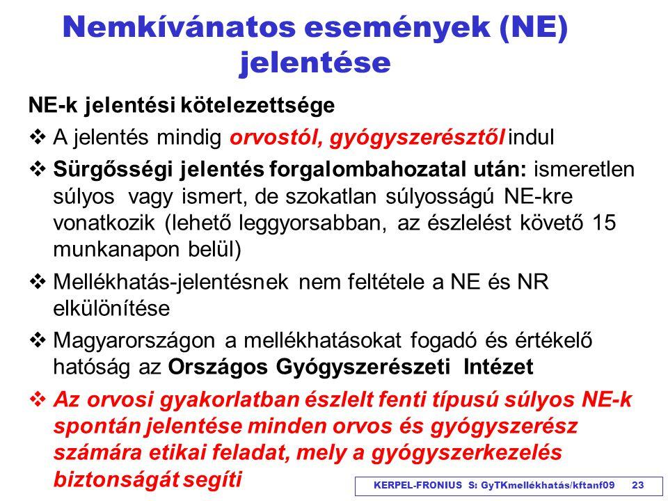 Nemkívánatos események (NE) jelentése